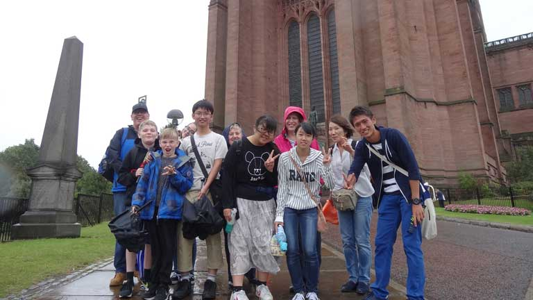 Students in front of the Anglican Cathedral, Liverpool